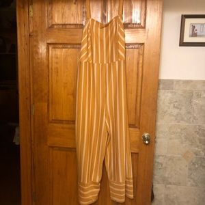 Yellow and white striped jumpsuit from target